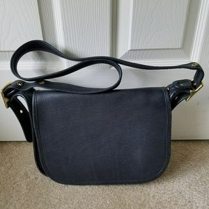 Coach Black Leather Flap Crossbody Shoulder Bag